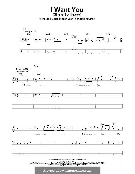 I Want You (She's So Heavy): para baixo com guia by John Lennon, Paul McCartney