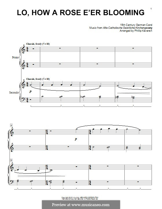 Lo, How a Rose E'er Blooming: Para Piano by folklore