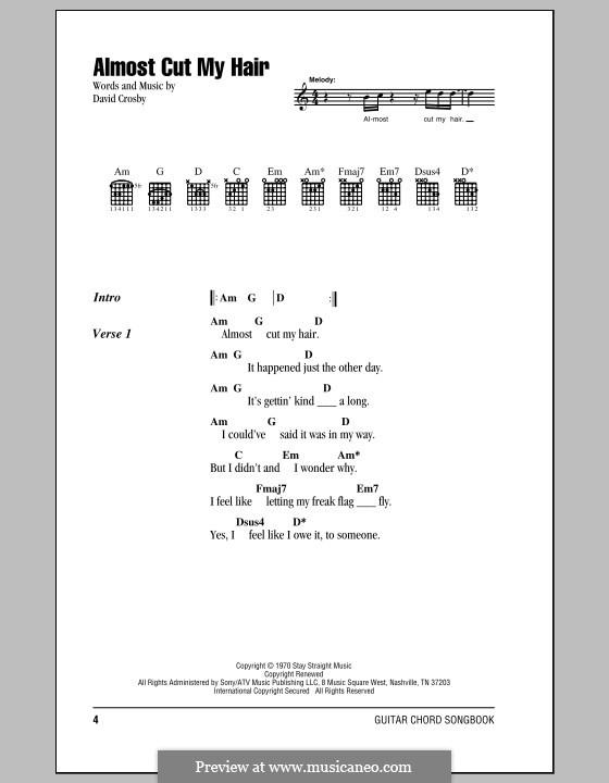 Almost Cut My Hair (Crosby, Stills & Nash): Letras e Acordes by David Crosby