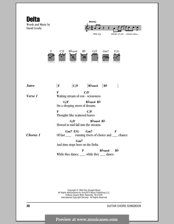 Delta (Crosby, Stills & Nash): Letras e Acordes by David Crosby