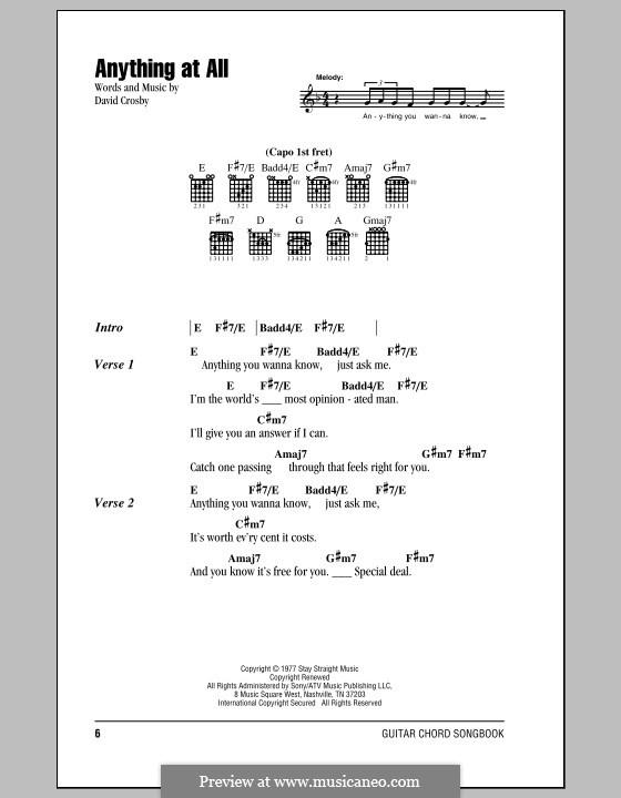 Anything at All (Crosby, Stills & Nash): Letras e Acordes by David Crosby