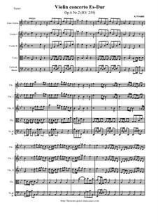 Six Violin Concertos, Op.6: Concerto No.2 in E Flat Major – score and all parts, RV 259 by Antonio Vivaldi