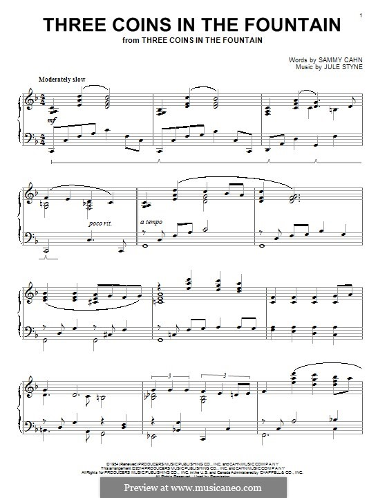 Three Coins in the Fountain (Frank Sinatra): Para Piano by Jule Styne