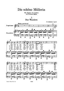 No.1 Das Wandern (Wandering): para voz alta e piano by Franz Schubert