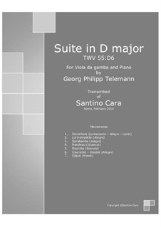 Suite in D Major, for piano, TWV 55:D6: For viola da gamba and piano by Georg Philipp Telemann
