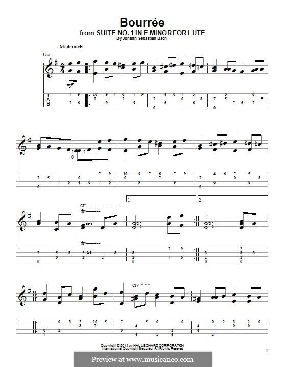 Suite for Lute (or Harpsichord) in E Minor, BWV 996: Bourrée. Version for ukulele by Johann Sebastian Bach
