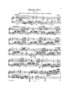 Sonata for Piano No.1 in C Major, J.138 Op.24: For a single performer by Carl Maria von Weber