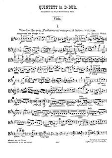 String Quintet in D Major: parte viola by Joseph Miroslav Weber