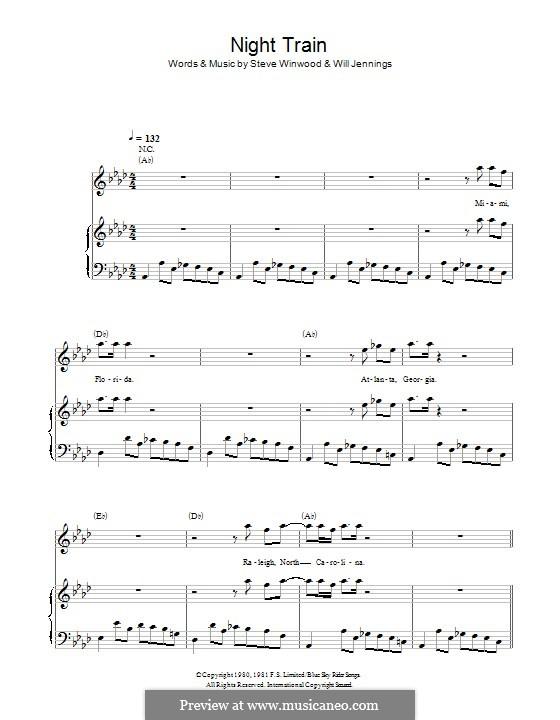 Night Train: Para vocais e piano (ou Guitarra) by Steve Winwood, Will Jennings