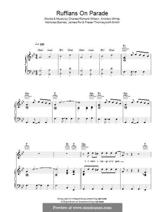 Ruffians on Parade (Kaiser Chiefs): Para vocais e piano (ou Guitarra) by Andrew White, Fraser Thorneycroft-Smith, James Rix, Nicholas Baines, Charles Wilson
