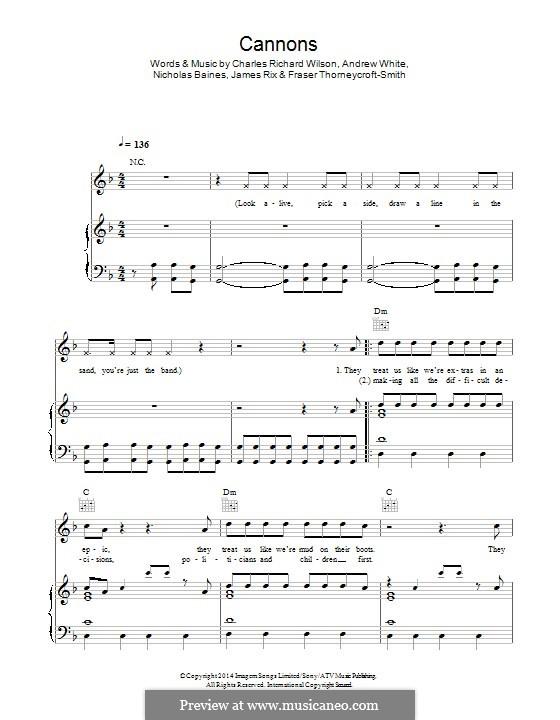 Cannons (Kaiser Chiefs): Para vocais e piano (ou Guitarra) by Andrew White, Fraser Thorneycroft-Smith, James Rix, Nicholas Baines, Charles Wilson