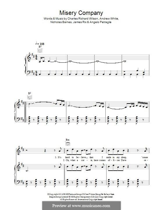 Misery Company (Kaiser Chiefs): Para vocais e piano (ou Guitarra) by Andrew White, Angelo Petraglia, James Rix, Nicholas Baines, Charles Wilson