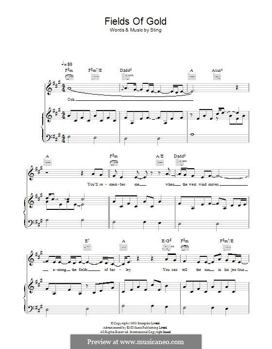Fields of Gold: Para vocais e piano (ou Guitarra) by Sting