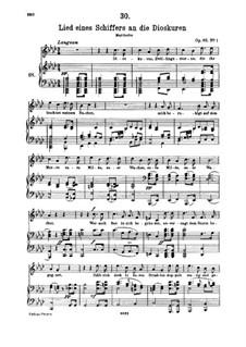 Lied eines Schiffers an die Dioskuren (Boatman's Song to the Dioscuri), D.360 Op.65 No.1: para voz alta e piano by Franz Schubert