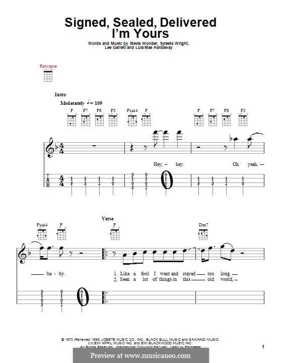 Signed, Sealed, Delivered (Blue feat. Stevie Wonder): para ukulele by Lee Garrett, Lula Mae Hardaway, Stevie Wonder, Syreeta Wright