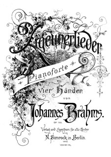 Gypsey Songs, Op.103: Gypsey Songs by Johannes Brahms