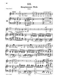 No.19 Hauptmann's Weib (La femme du chef): para voz media e piano by Robert Schumann