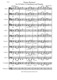 Hymne (Hymnus) for Ten Cellos, Two Contrabasses and Timpani: Score and parts by Karl Julevich Davydov