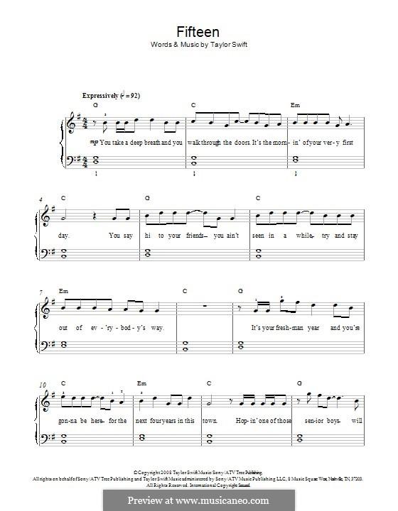 Fifteen: Para Piano by Taylor Swift