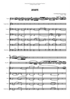 Andante for Solo Violin, Cor Anglais (or Solo Viola) and String orchestra: partitura by Carl Philipp Emanuel Bach