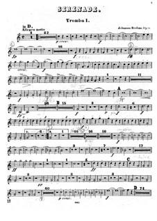 Serenade No.1 in D Major, Op.11: trompeta parte I by Johannes Brahms