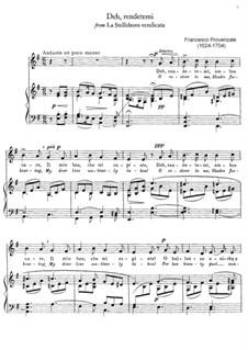 La Stellidaura vendicata. Deh, rendetemi: For mezzo-soprano and piano by Francesco Provenzale
