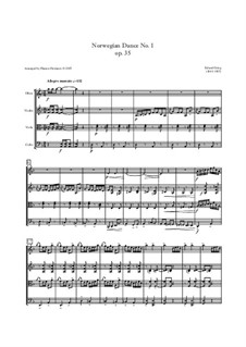 Four Norwegian Dances, Op.35: Dance No.1, for quartet - score by Edvard Grieg