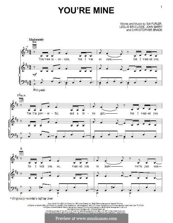 You're Mine (Lea Michele): Para vocais e piano (ou Guitarra) by Chris Braide, John Barry, Leslie Bricusse, Sia Furler
