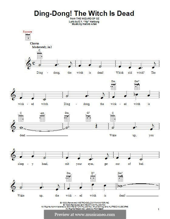Ding-dong! The Witch Is Dead (from The Wizard of Oz): para ukulele by Harold Arlen