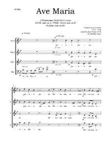 Ave Maria : For four voices by Tomás Luis de Victoria