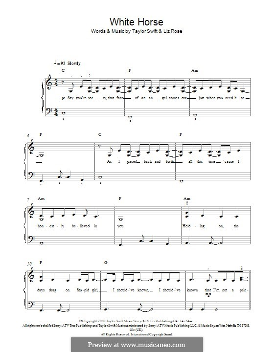 White Horse (Taylor Swift): Para Piano by Liz Rose