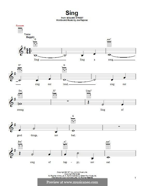 Sing (The Carpenters): para ukulele by Joe Raposo