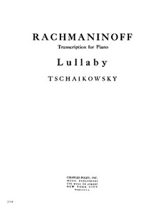 Six Romances, TH 95 Op.16: No.1 Cradle Song, for piano by Pyotr Tchaikovsky