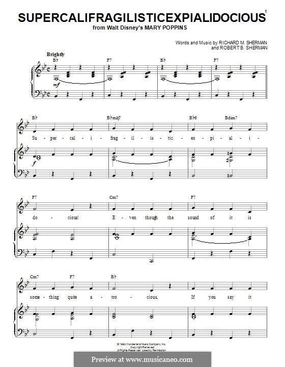 Supercalifragilisticexpialidocious (from Mary Poppins): Para vocais e piano (ou Guitarra) by Richard M. Sherman, Robert B. Sherman