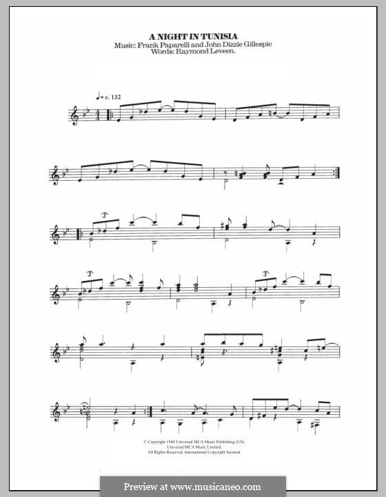 A Night in Tunisia: Para guitarra com guia by Dizzy Gillespie, Frank Paparelli