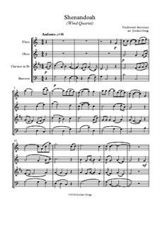 Shenandoah: Para quarteto de sopro by folklore