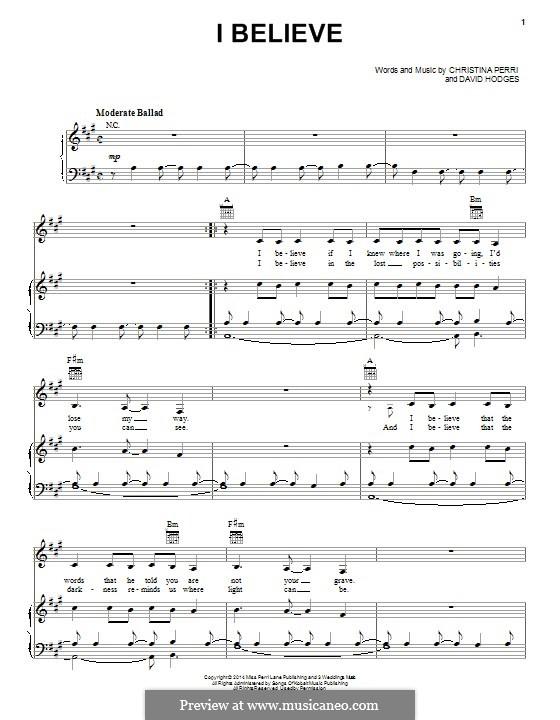 I Believe: Para vocais e piano (ou Guitarra) by Christina Perri, David Hodges