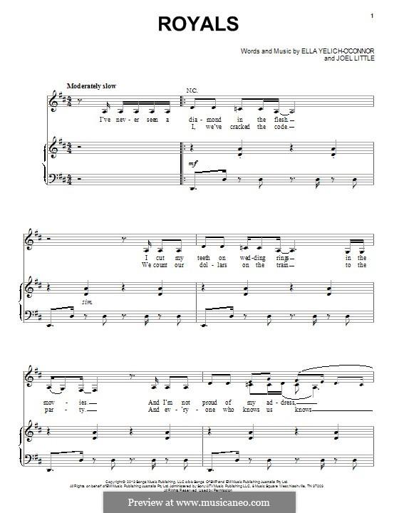 Royals (Lorde): Para vocais e piano by Ella Yelich-O'Connor, Joel Little