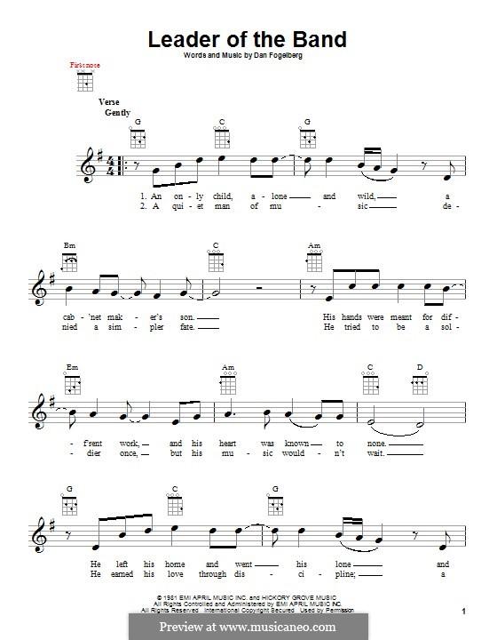 Leader of the Band: para ukulele by Dan Fogelberg