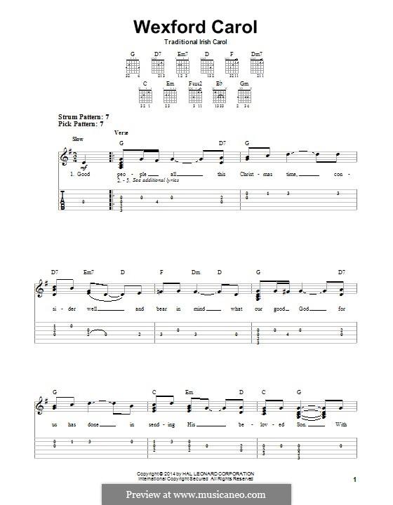 Wexford Carol: Para guitarra com guia by folklore