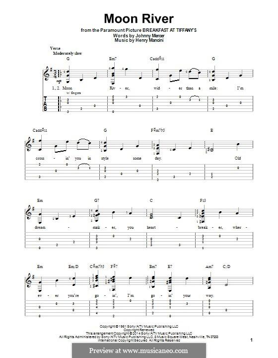 Moon River (from Breakfast at Tiffany's): Para guitarra com guia by Henry Mancini