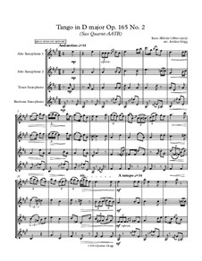 No.2 Tango: For sax quartet AATB by Isaac Albéniz