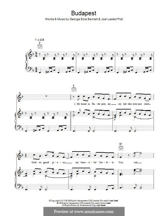 Budapest: Para vocais e piano (ou Guitarra) by Joel Pott, George Ezra Barnett