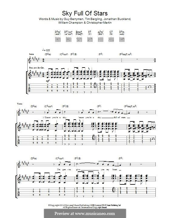 A Sky Full of Stars (Coldplay): Para guitarra com guia by Chris Martin, Guy Berryman, Jonny Buckland, Avicii, Will Champion