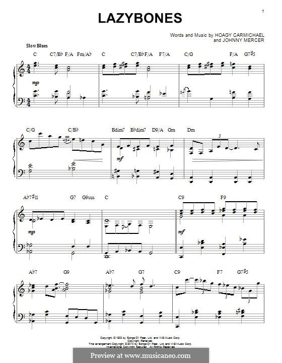 Lazybones: Para Piano by Johnny Mercer