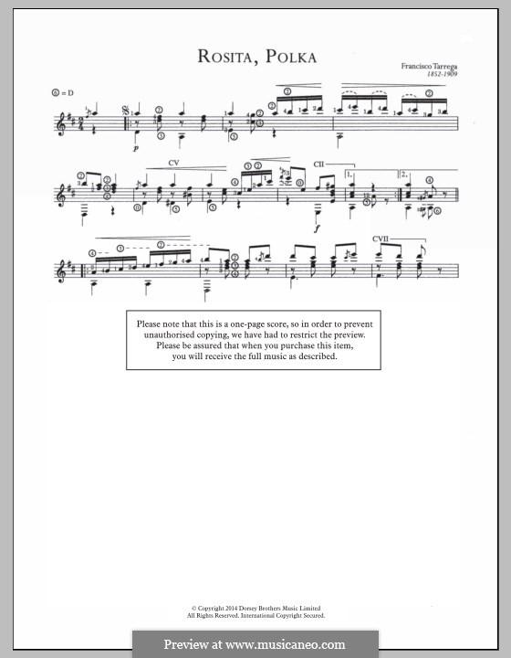 Rosita. Polka: Para Guitarra by Francisco Tárrega