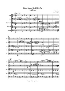 Sonatina for Piano in F Major, K.547a: Movement I Allegro (arr. wind quintet) by Wolfgang Amadeus Mozart