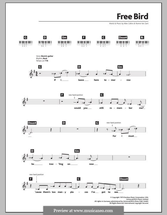 Free Bird (Lynyrd Skynyrd): para teclado by Allen Collins, Ronnie Van Zant