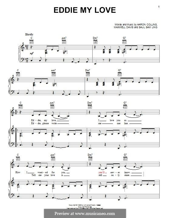 Eddie My Love (The Chordettes): Para vocais e piano (ou Guitarra) by Aaron Collins, Maxwell Davis, Saul Sam Ling