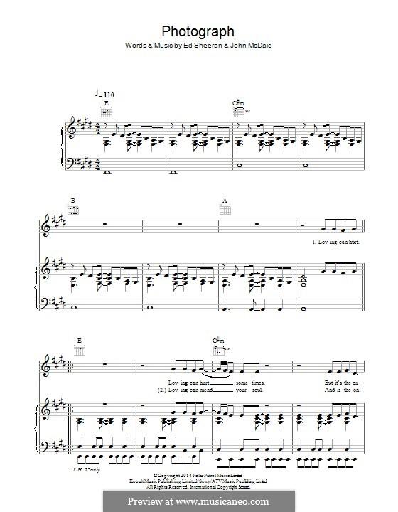 Photograph: Para vocais e piano (ou Guitarra) by Ed Sheeran, John McDaid